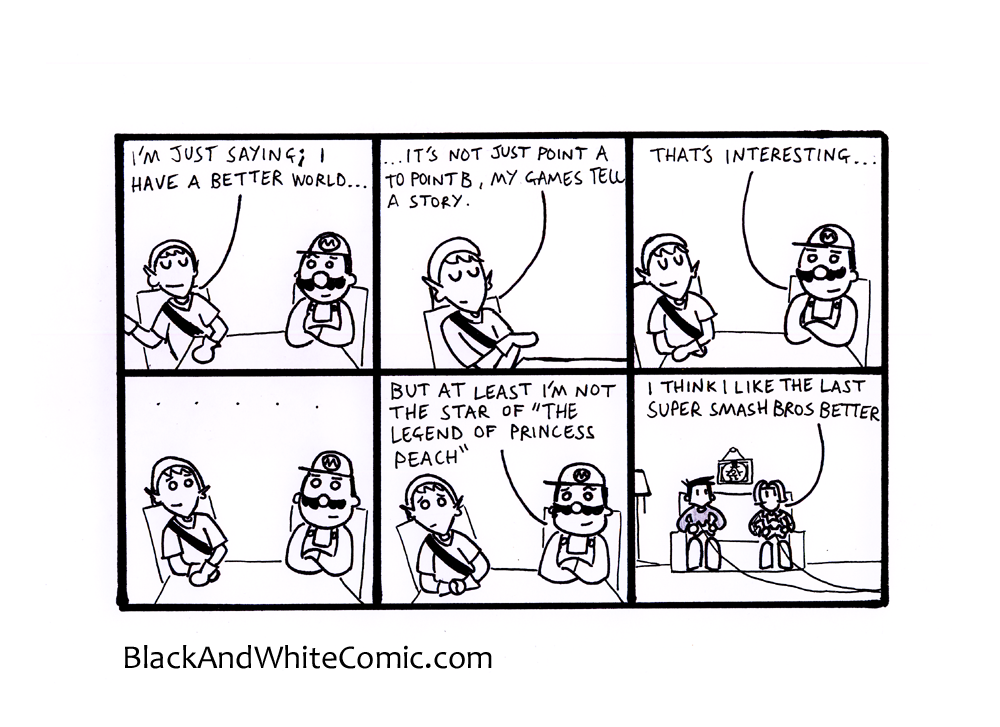 A link to the 18/04/2014 page of Black and White Comic