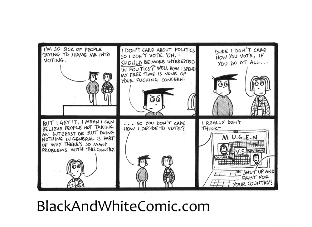 A link to the 24/04/2015 page of Black and White Comic