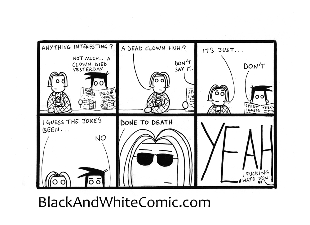 A link to the 15/08/2014 page of Black and White Comic