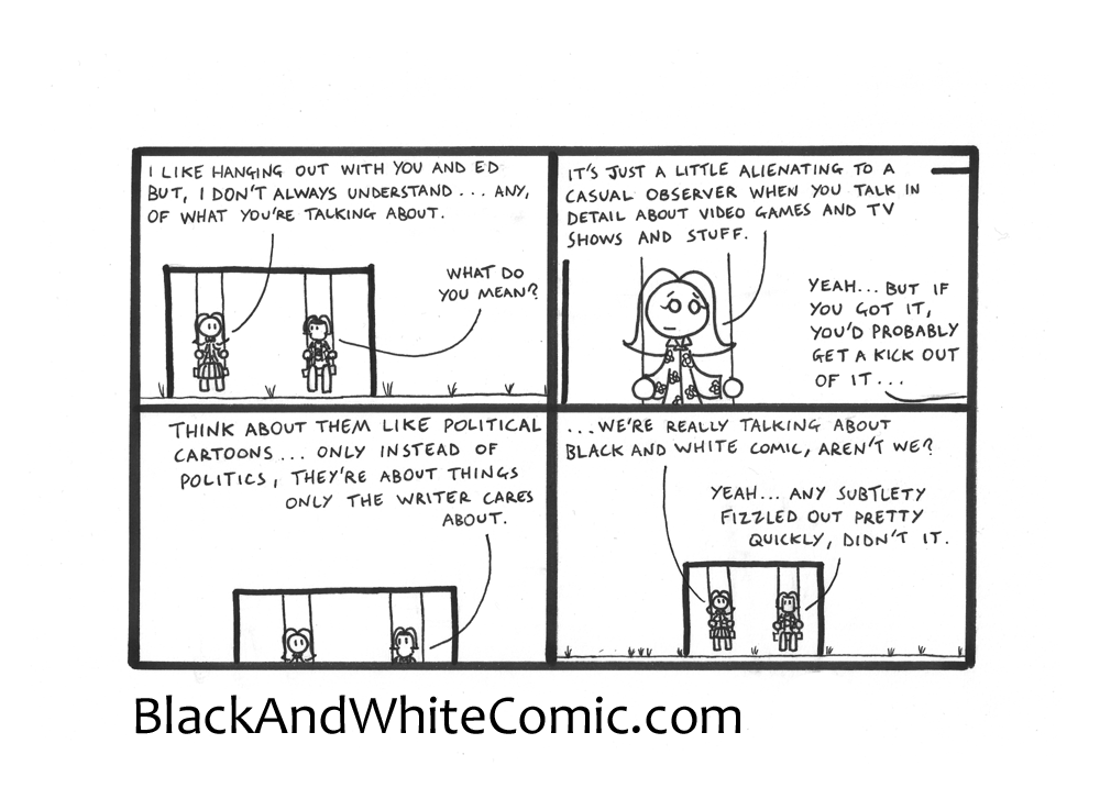 A link to the 22/08/2014 page of Black and White Comic