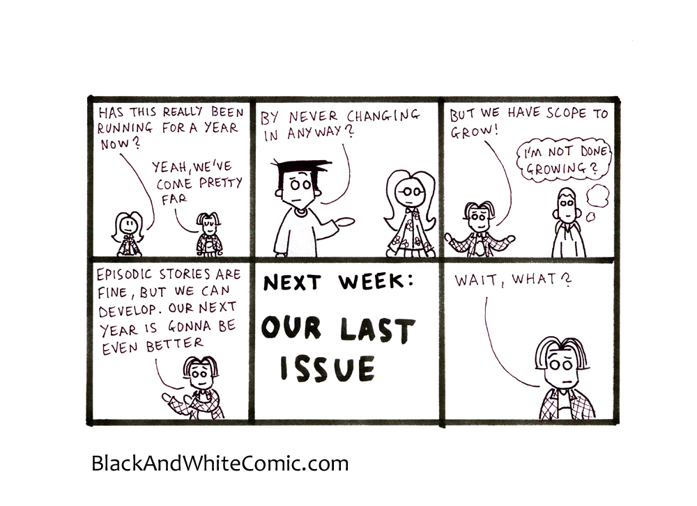 A link to the 23/08/2013 page of Black and White Comic