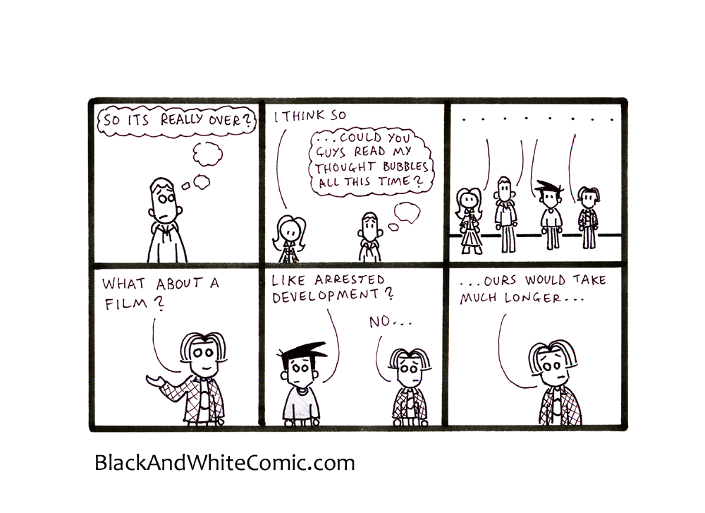 A link to the 30/08/2013 page of Black and White Comic
