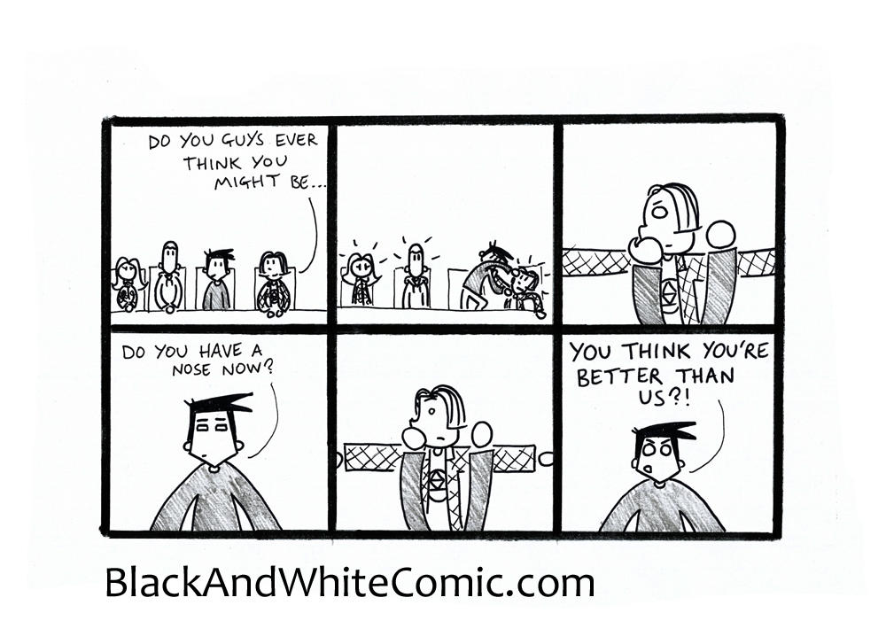 A link to the 05/12/2014 page of Black and White Comic