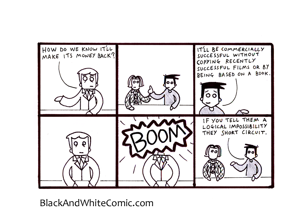 A link to the 13/12/2013 page of Black and White Comic