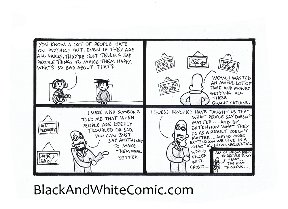 A link to the 19/12/2014 page of Black and White Comic