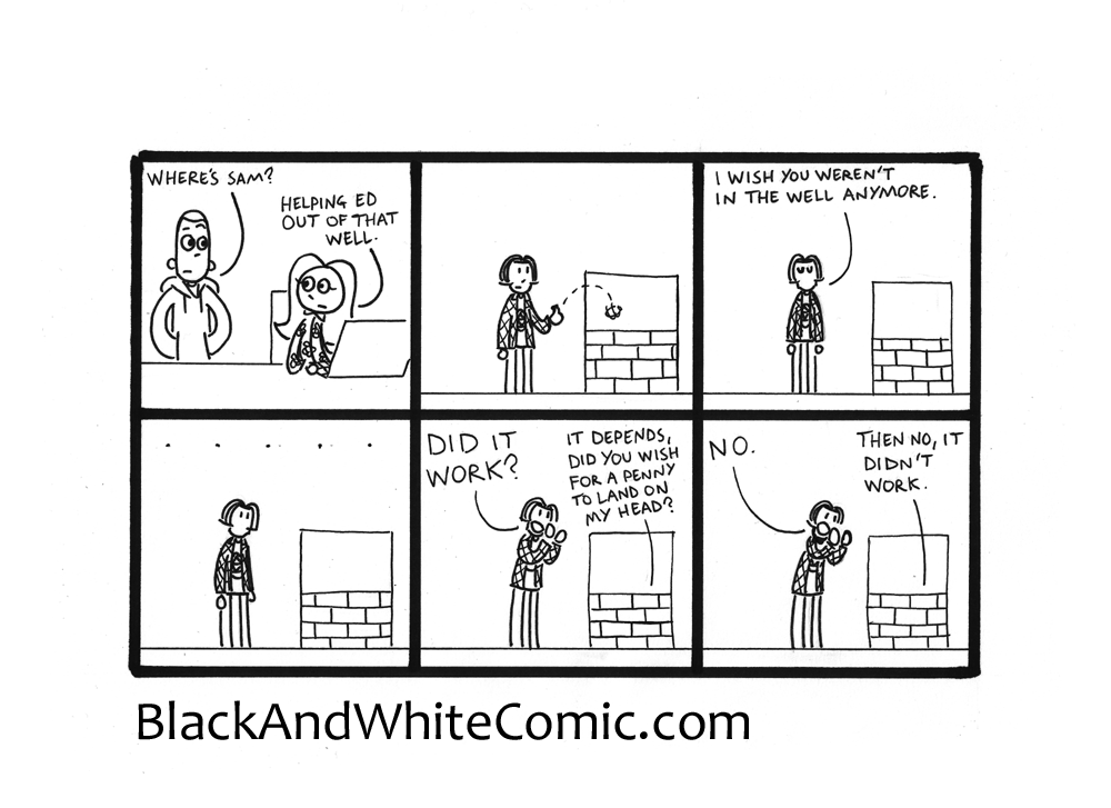 A link to the 23/01/2015 page of Black and White Comic
