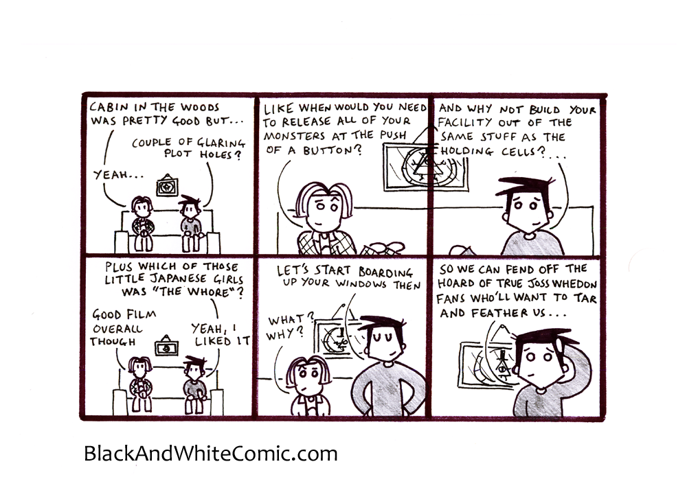 A link to the 31/01/2014 page of Black and White Comic