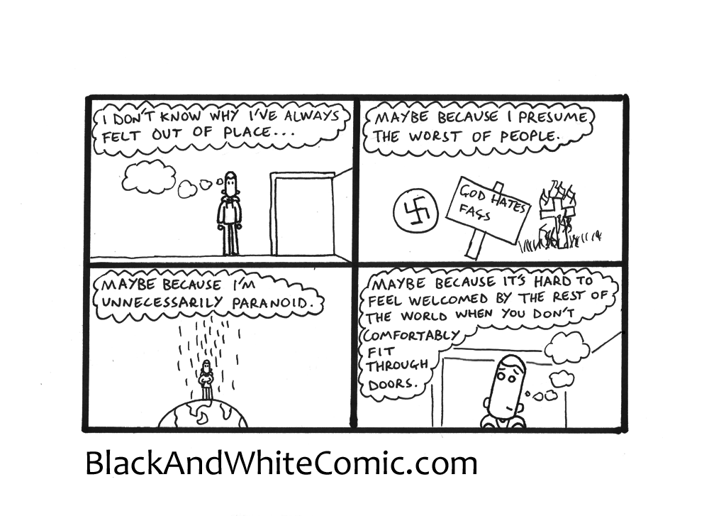 A link to the 18/07/2014 page of Black and White Comic