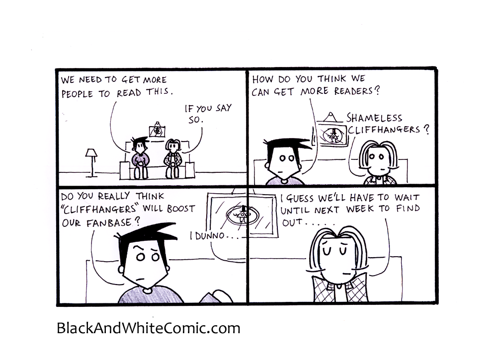 A link to the 06/06/2014 page of Black and White Comic