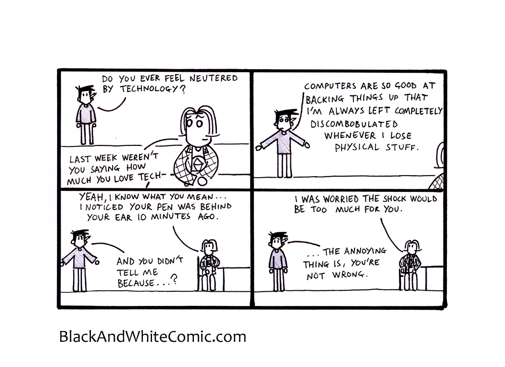 A link to the 20/06/2014 page of Black and White Comic