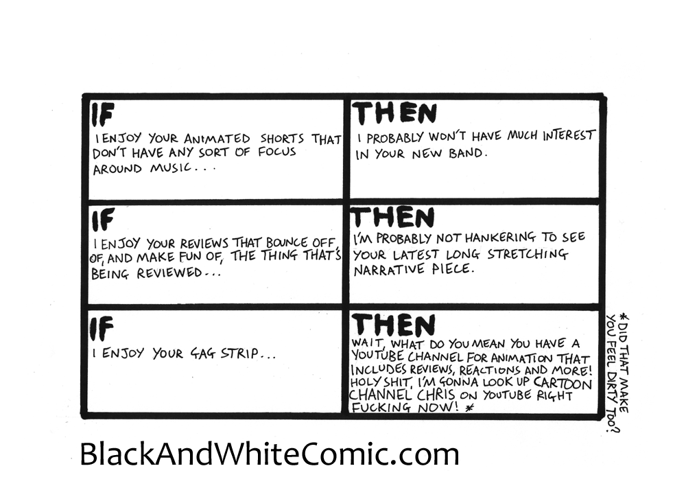 A link to the 26/06/2015 page of Black and White Comic