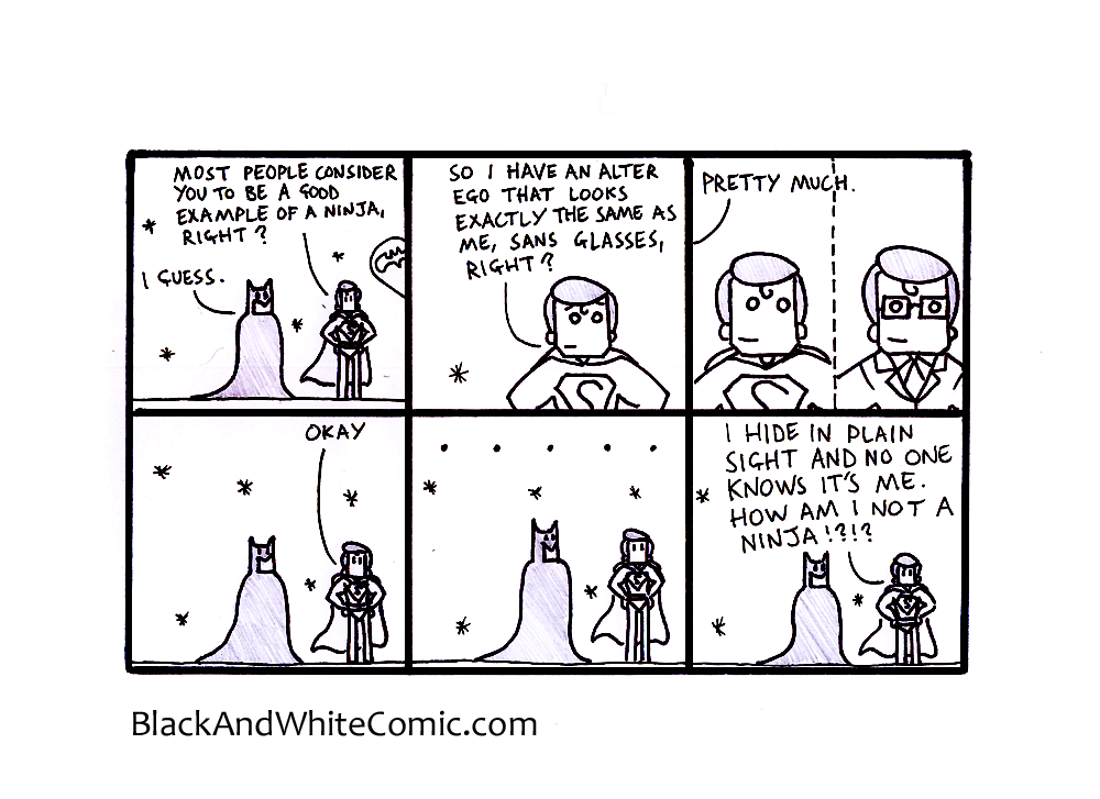 A link to the 27/06/2014 page of Black and White Comic