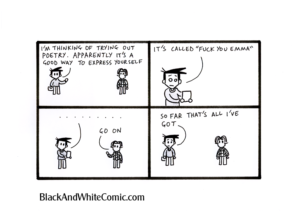 A link to the 08/03/2013 page of Black and White Comic
