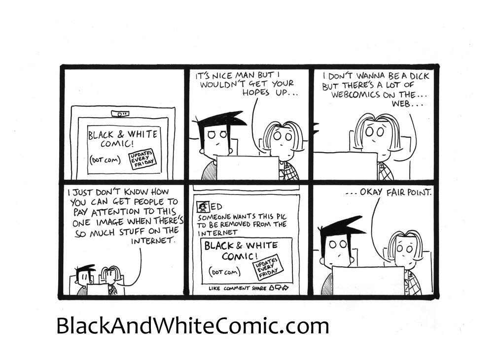 A link to the 15/05/2015 page of Black and White Comic