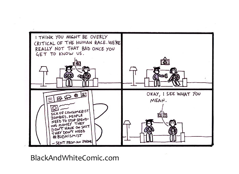 A link to the 30/05/2014 page of Black and White Comic