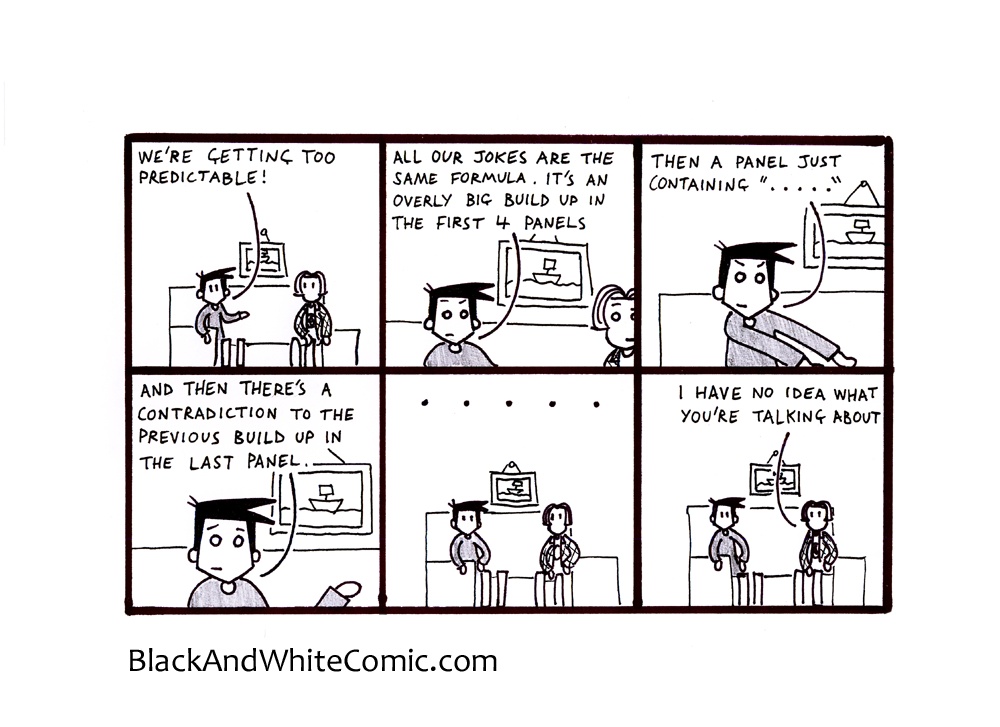 A link to the 08/11/2013 page of Black and White Comic