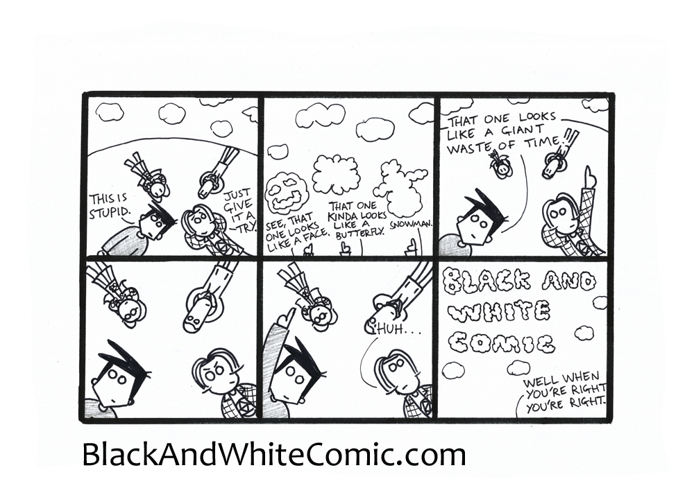 A link to the 14/11/2014 page of Black and White Comic