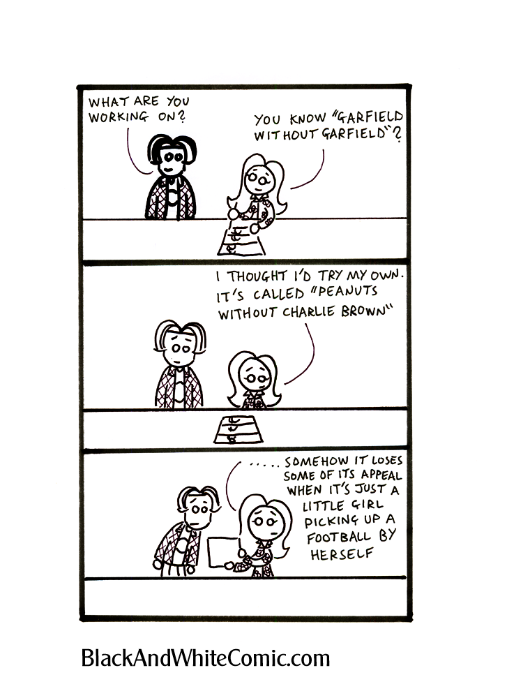Panel 1 – Mel draws something while Sam looks over her shoulder – Sam: What are you working on? Mel: You know Garfield Without Garfield? Panel 2 -Mel: I thought I'd try my own. It's called Peanuts without Charlie Brown. Panel 3 – Sam and Mel read the comic. - Mel: ….. Somehow it loses some of its appeal when it's just a little girl picking up a football by herself.