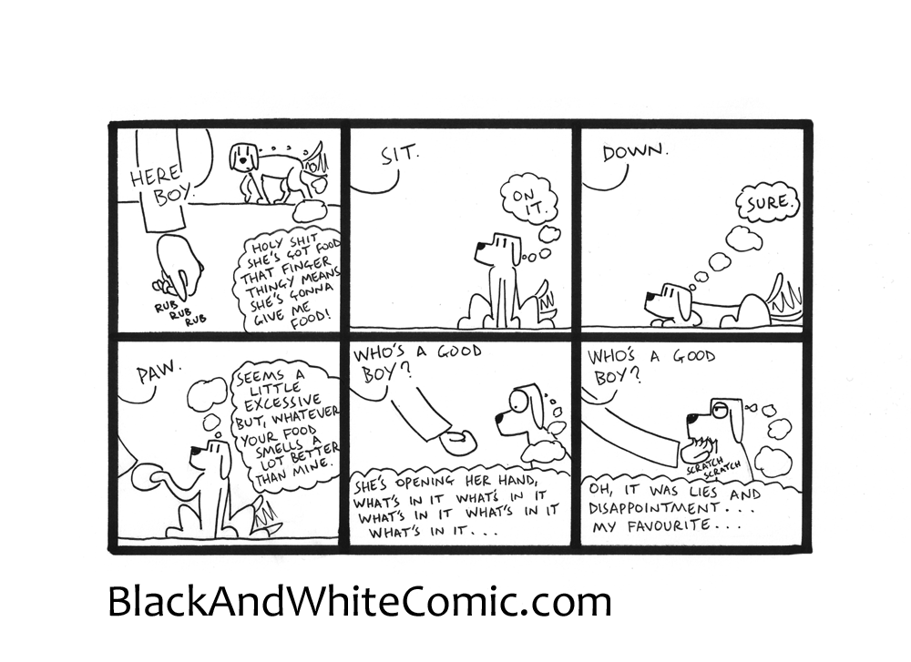 A link to the 09/10/2015 page of Black and White Comic