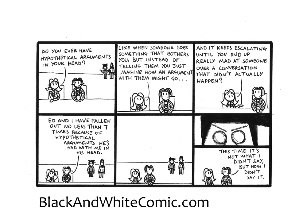 A link to the 10/10/2014 page of Black and White Comic