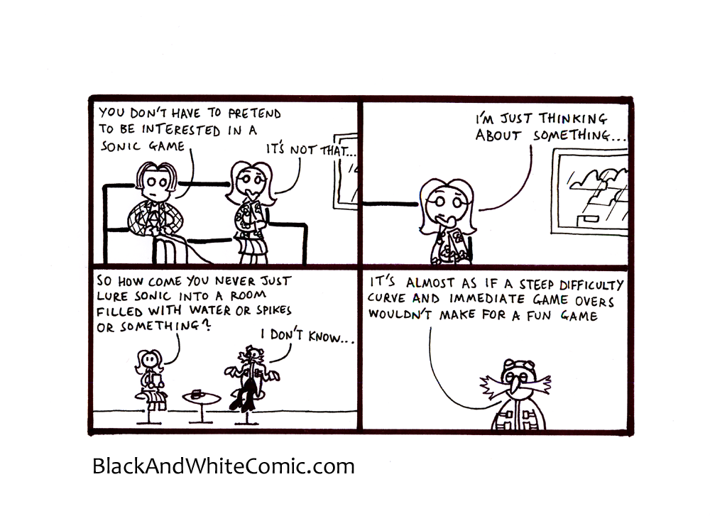 A link to the 11/10/2013 page of Black and White Comic