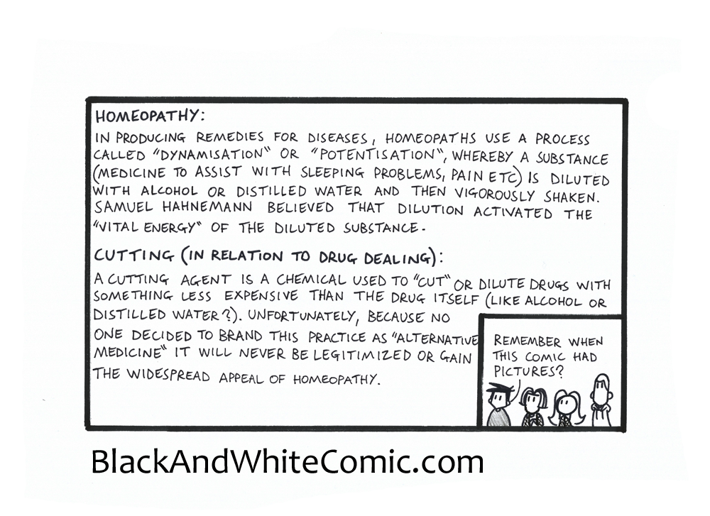 A link to the 17/10/2014 page of Black and White Comic
