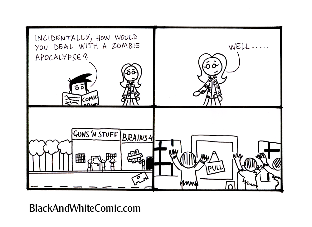 A link to the 19/10/2012 page of Black and White Comic
