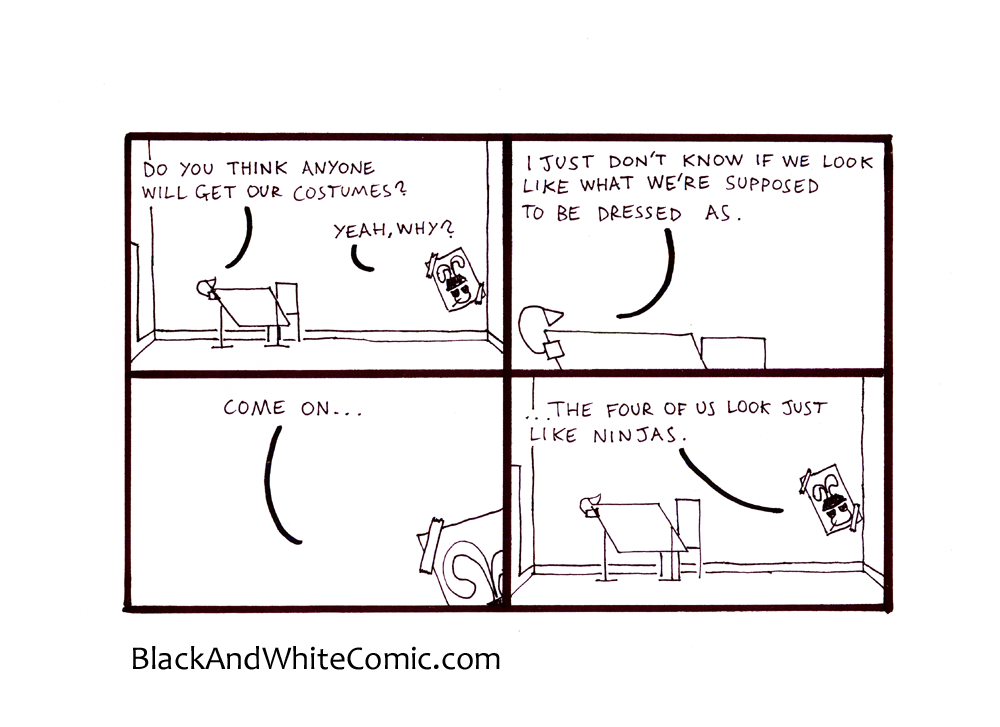 A link to the 25/10/2013 page of Black and White Comic
