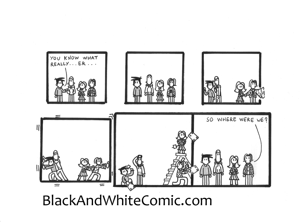 A link to the 05/09/2014 page of Black and White Comic