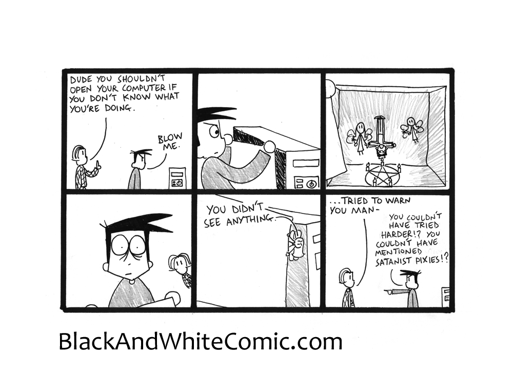 A link to the 11/09/2015 page of Black and White Comic