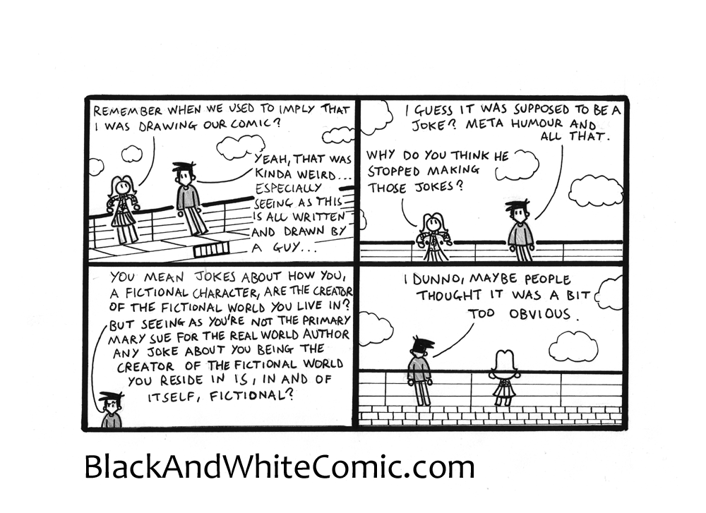 A link to the 12/09/2014 page of Black and White Comic