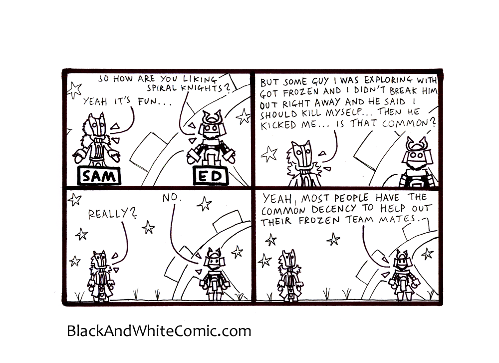 A link to the 27/09/2013 page of Black and White Comic